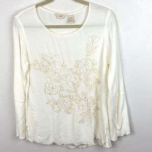 J Jill White Floral Embroidered Top Flare Sleeves